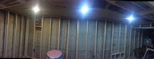 Half of the ceiling insulation  complete